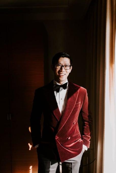 Velvet suit winter wedding ideas